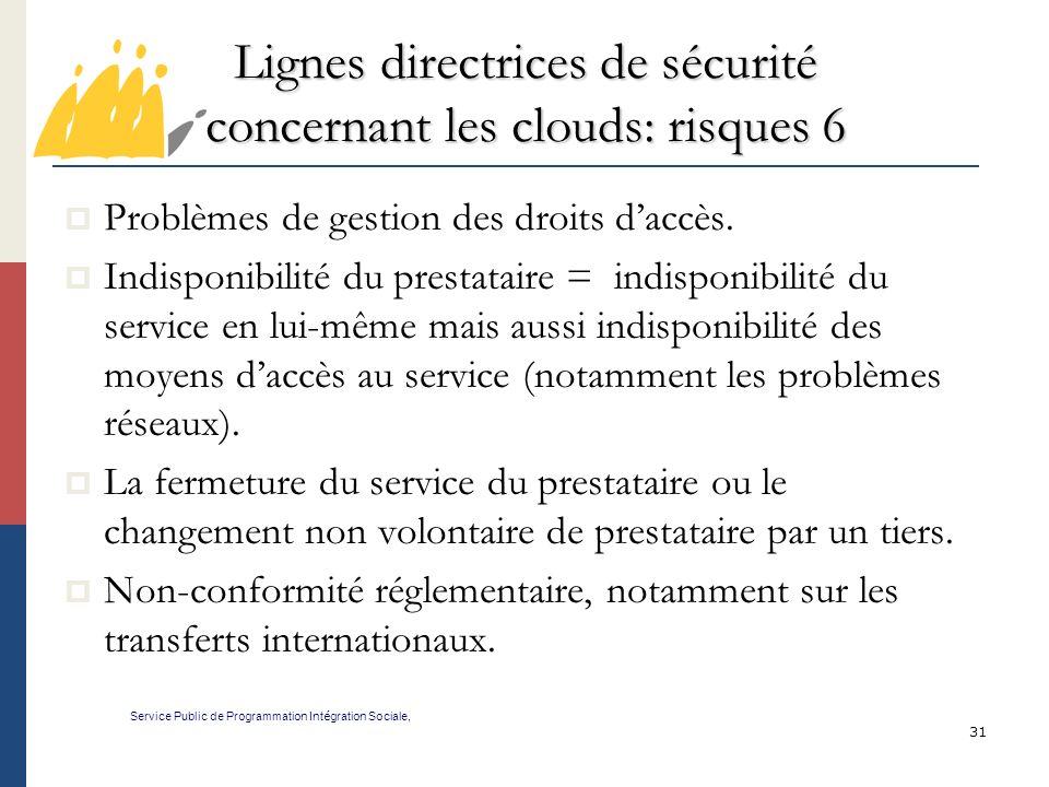 Lignes directrices de sécurité concernant les clouds: risques 6