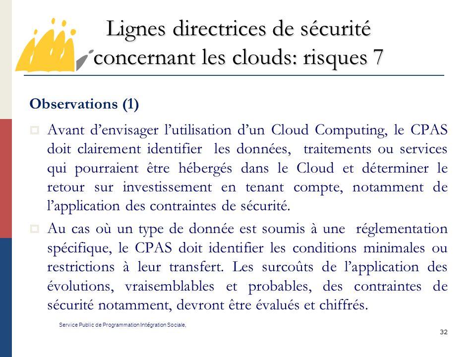 Lignes directrices de sécurité concernant les clouds: risques 7