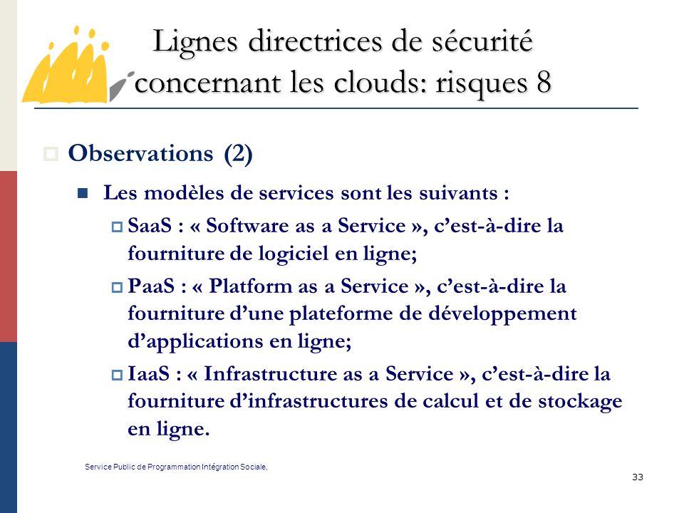 Lignes directrices de sécurité concernant les clouds: risques 8