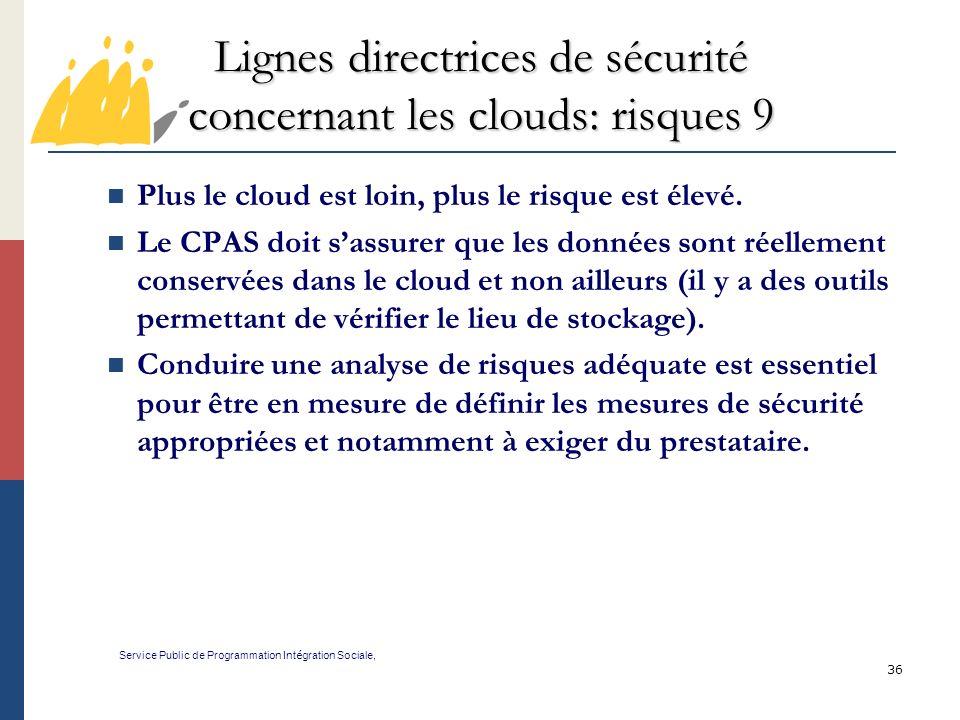 Lignes directrices de sécurité concernant les clouds: risques 9