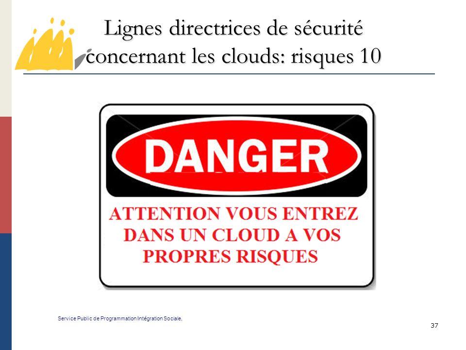 Lignes directrices de sécurité concernant les clouds: risques 10