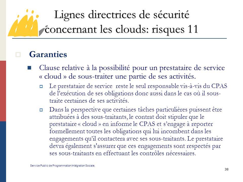 Lignes directrices de sécurité concernant les clouds: risques 11