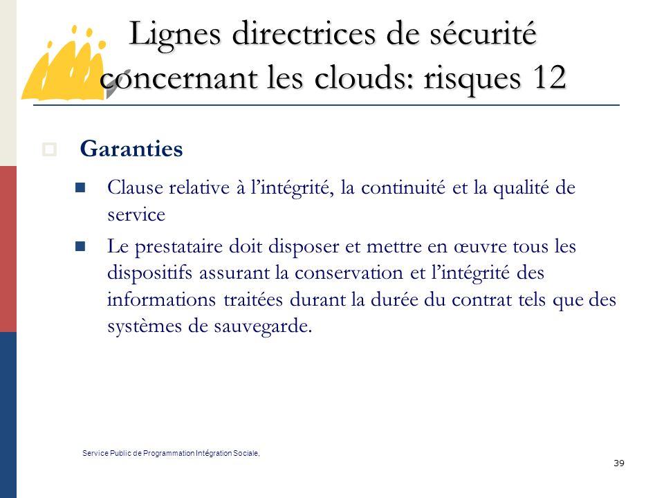 Lignes directrices de sécurité concernant les clouds: risques 12