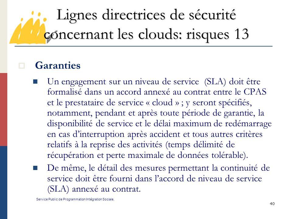 Lignes directrices de sécurité concernant les clouds: risques 13