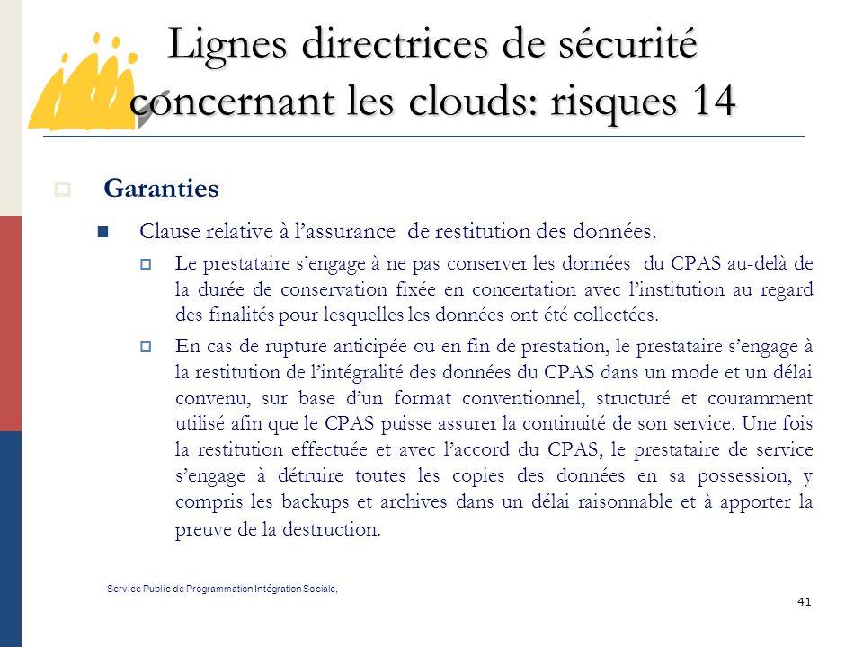 Lignes directrices de sécurité concernant les clouds: risques 14