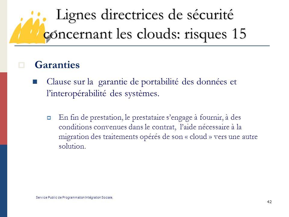Lignes directrices de sécurité concernant les clouds: risques 15
