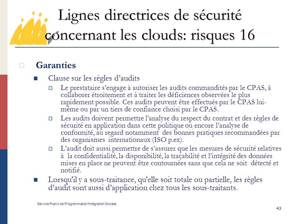 Lignes directrices de sécurité concernant les clouds: risques 16