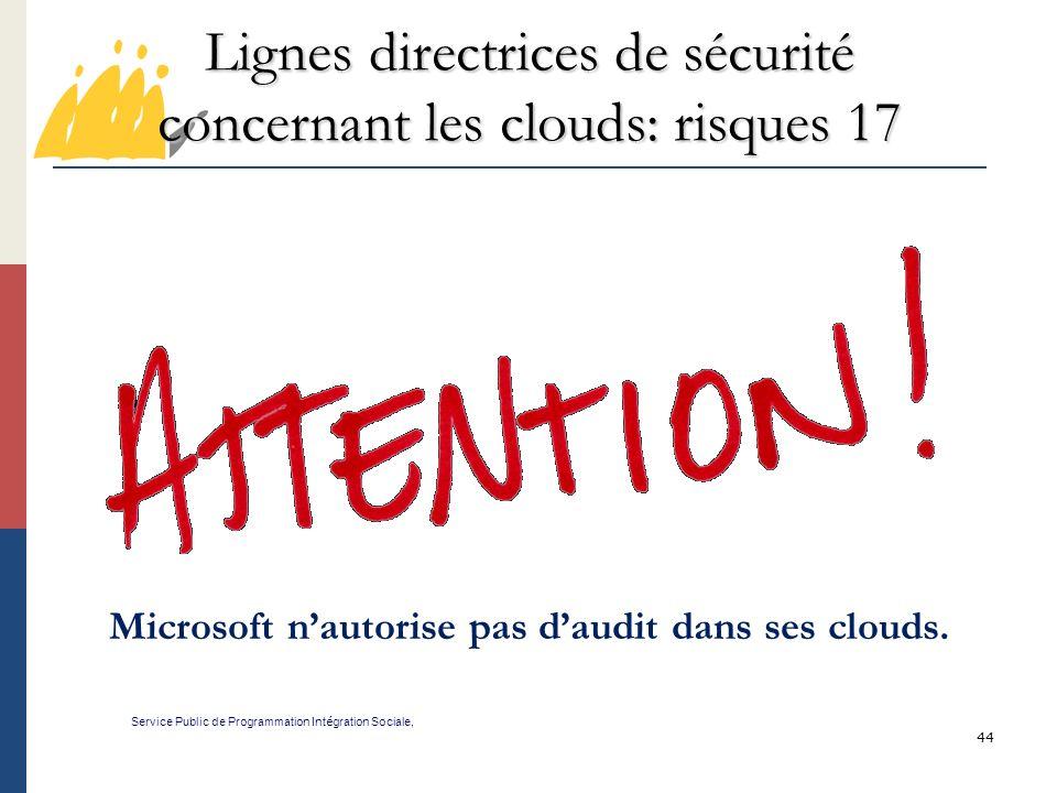 Lignes directrices de sécurité concernant les clouds: risques 17