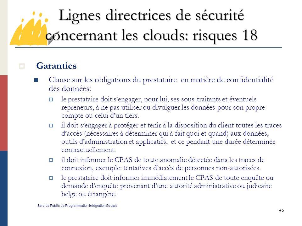 Lignes directrices de sécurité concernant les clouds: risques 18