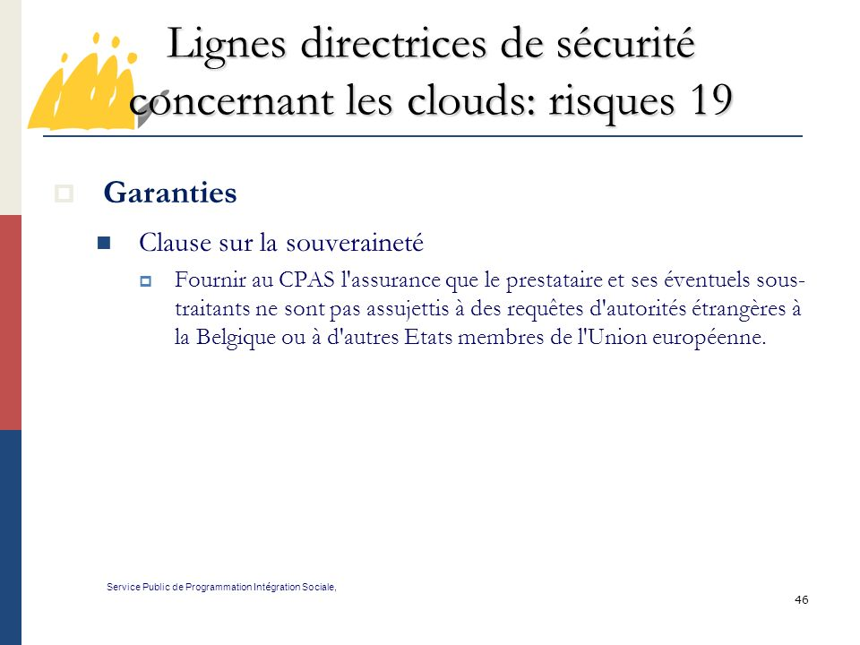 Lignes directrices de sécurité concernant les clouds: risques 19