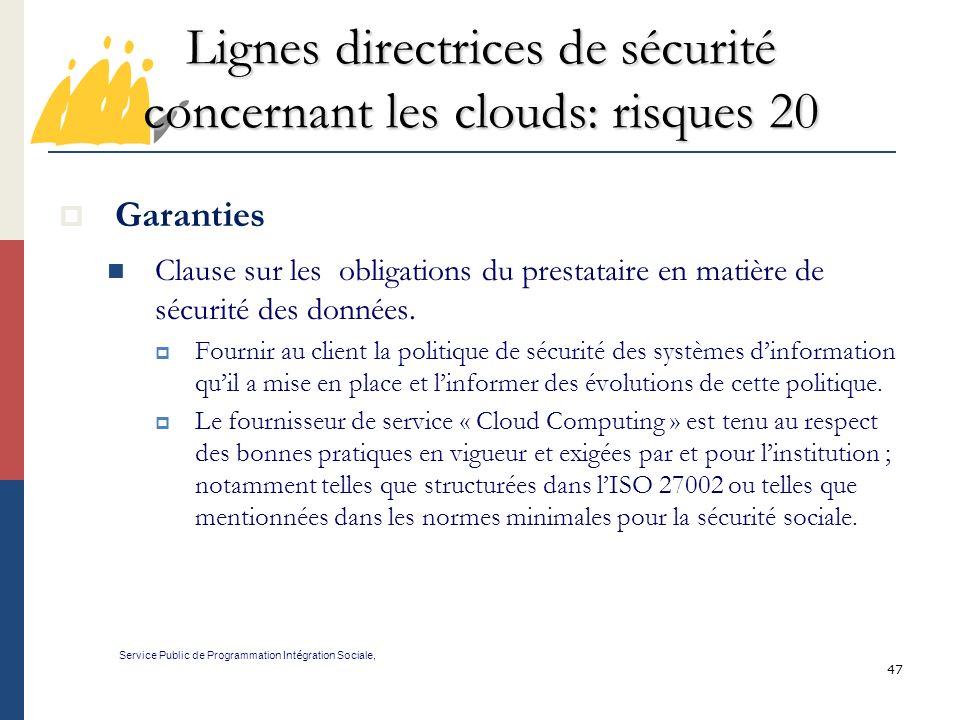 Lignes directrices de sécurité concernant les clouds: risques 20