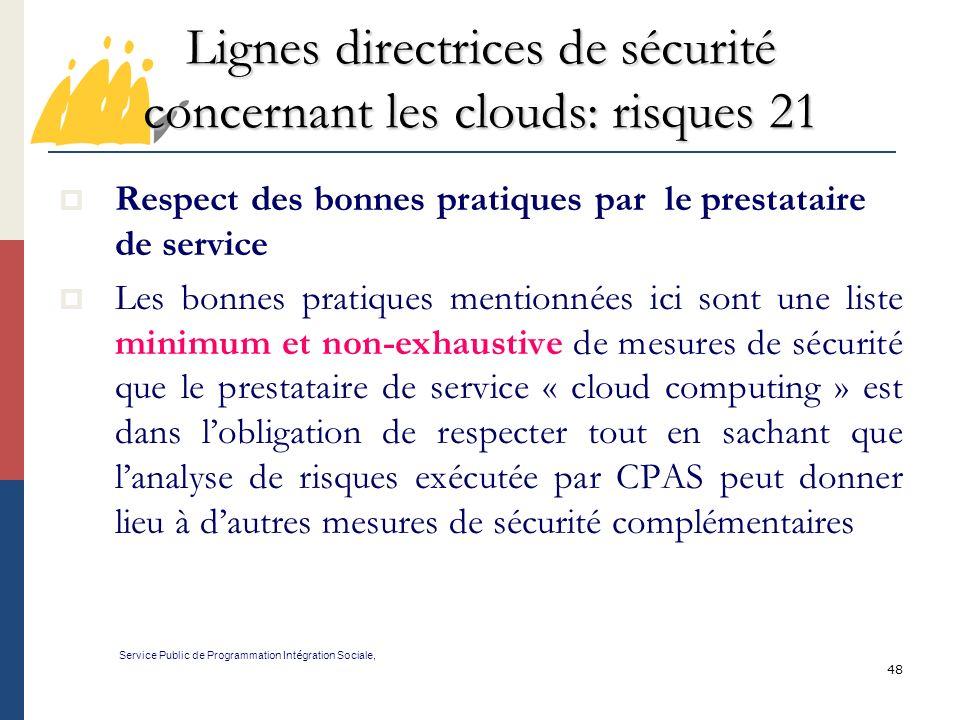 Lignes directrices de sécurité concernant les clouds: risques 21