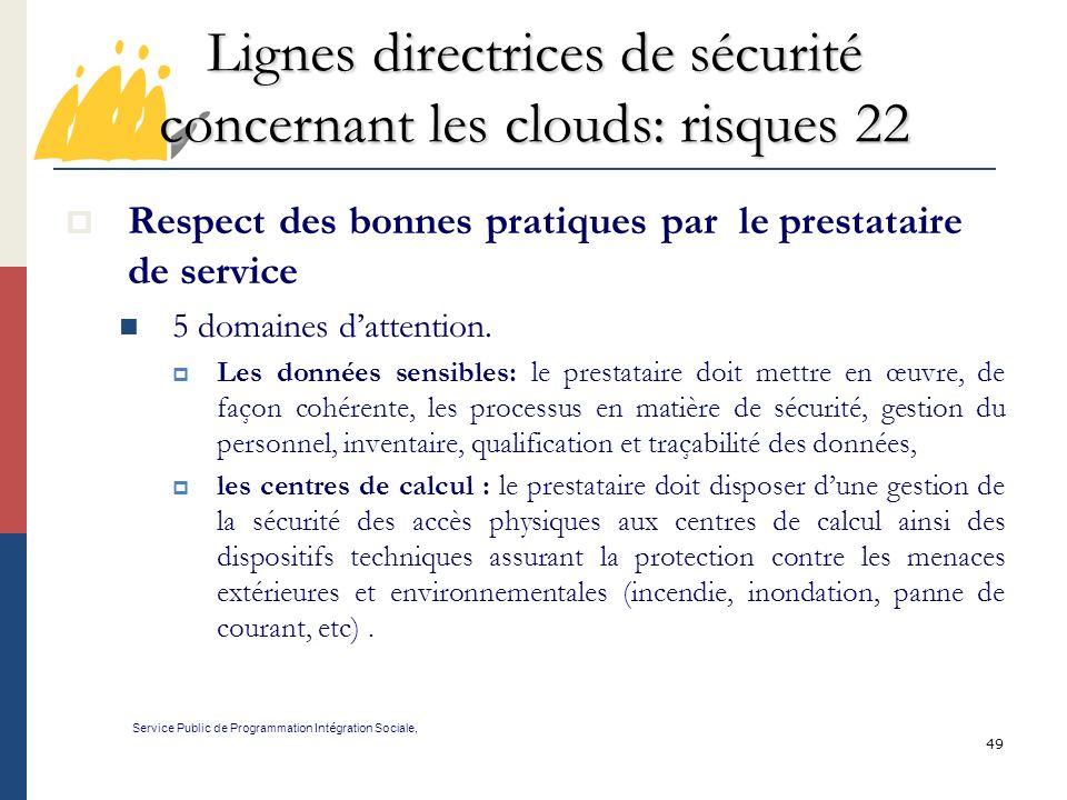Lignes directrices de sécurité concernant les clouds: risques 22