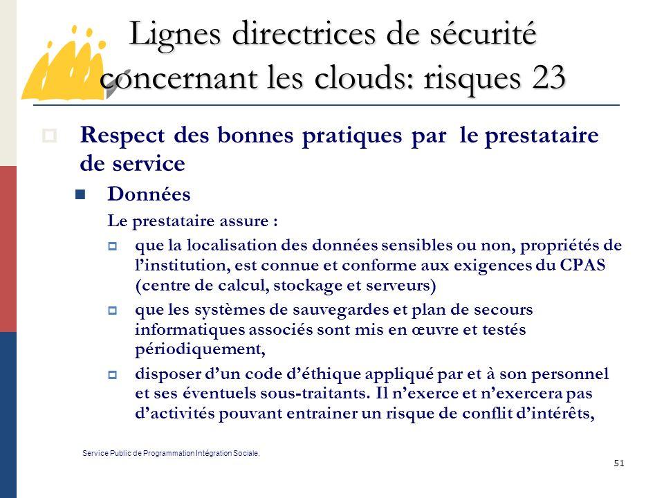 Lignes directrices de sécurité concernant les clouds: risques 23