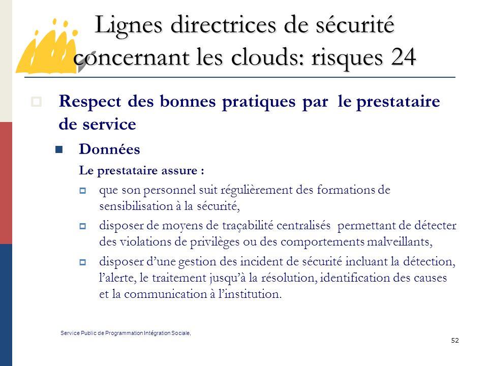 Lignes directrices de sécurité concernant les clouds: risques 24