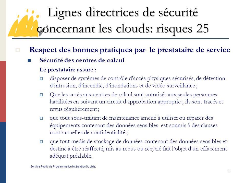 Lignes directrices de sécurité concernant les clouds: risques 25