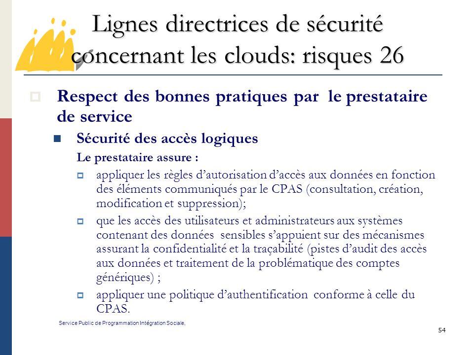 Lignes directrices de sécurité concernant les clouds: risques 26