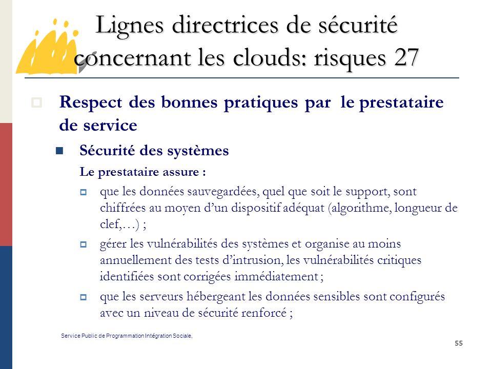 Lignes directrices de sécurité concernant les clouds: risques 27