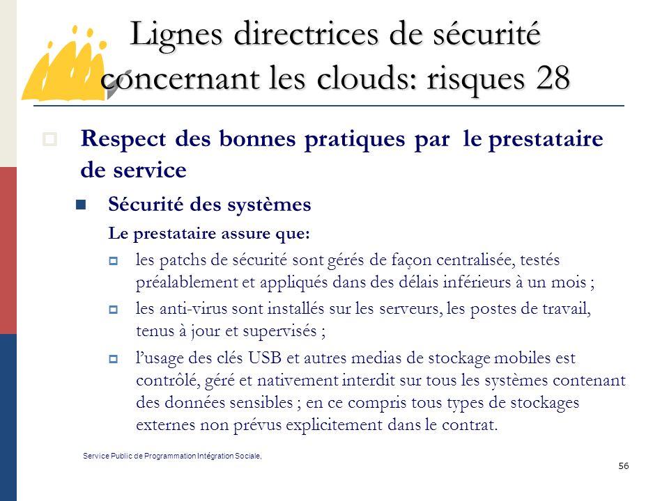 Lignes directrices de sécurité concernant les clouds: risques 28
