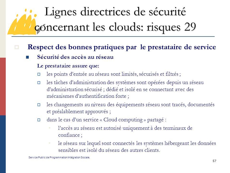 Lignes directrices de sécurité concernant les clouds: risques 29