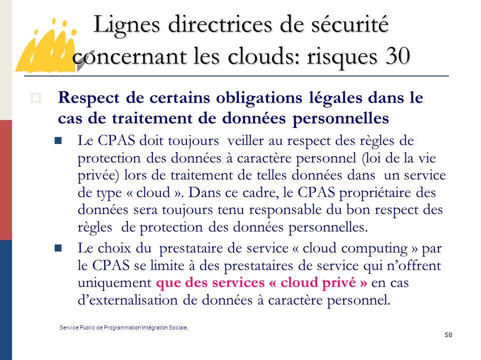 Lignes directrices de sécurité concernant les clouds: risques 30