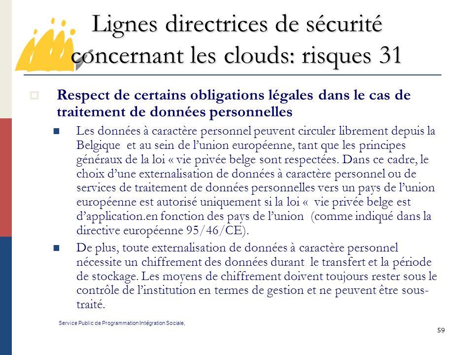 Lignes directrices de sécurité concernant les clouds: risques 31