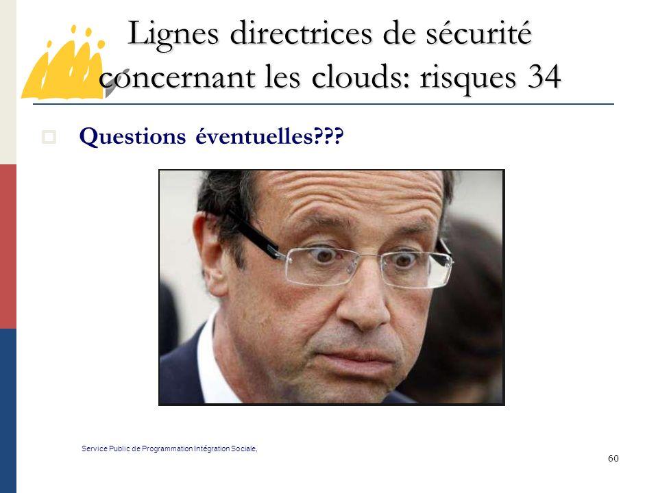 Lignes directrices de sécurité concernant les clouds: risques 34