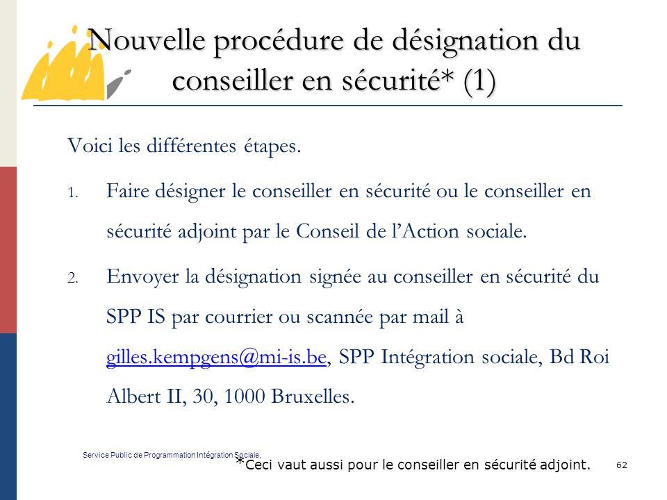 Nouvelle procédure de désignation du conseiller en sécurité* (1)