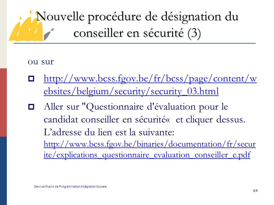 Nouvelle procédure de désignation du conseiller en sécurité (3)