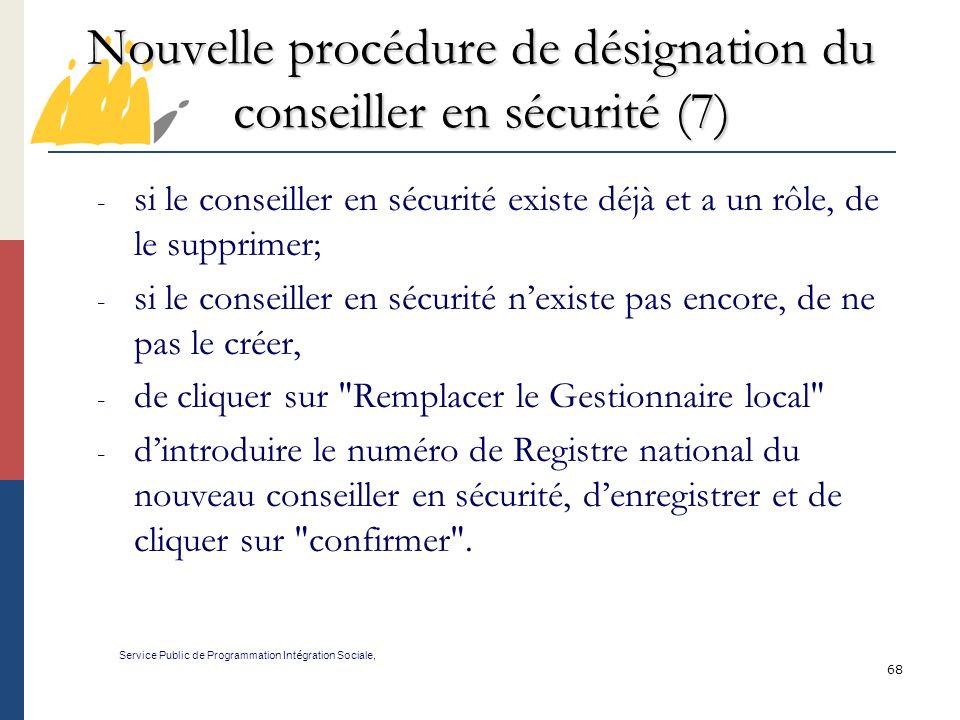Nouvelle procédure de désignation du conseiller en sécurité (7)