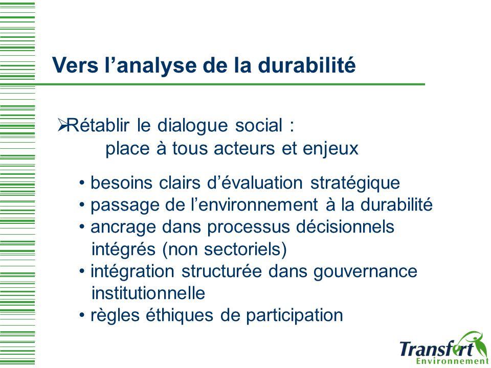 Vers l'analyse de la durabilité