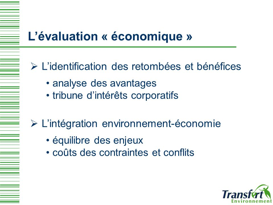 L'évaluation « économique »