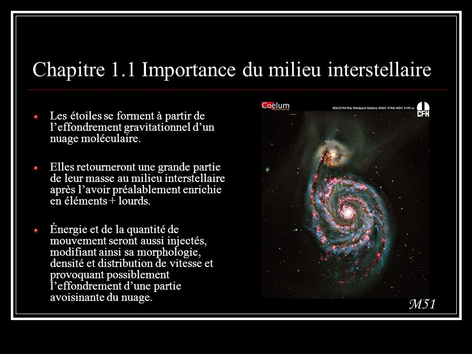 Chapitre 1.1 Importance du milieu interstellaire