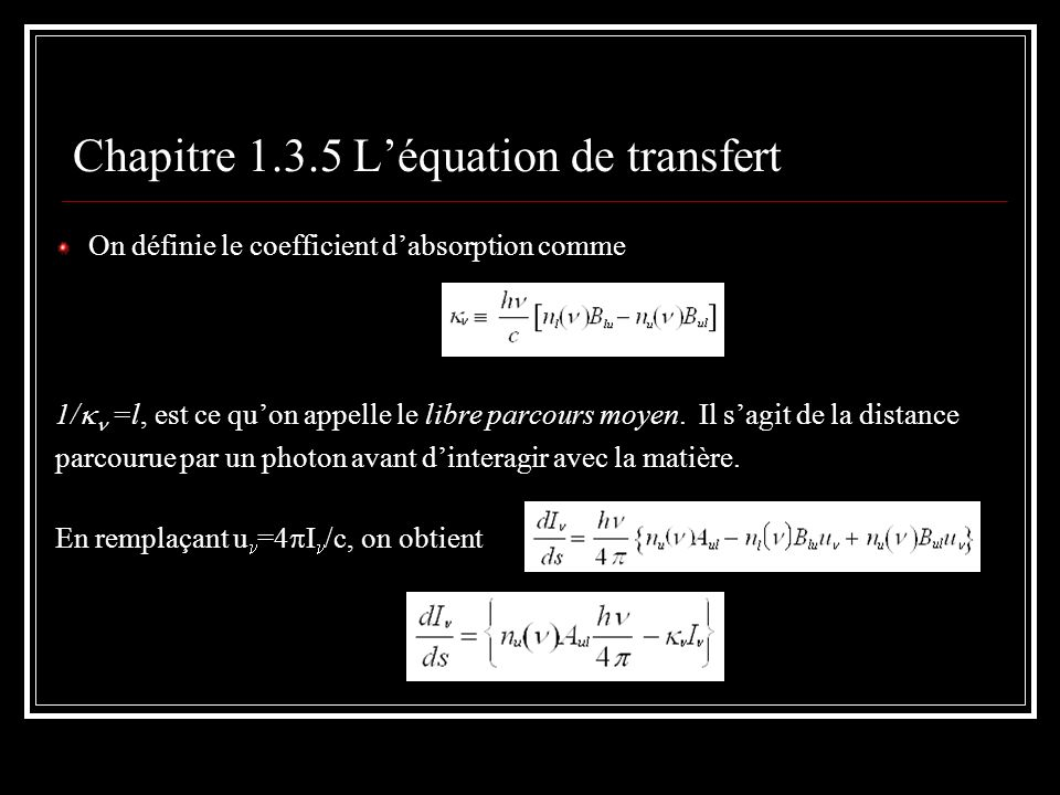 Chapitre 1.3.5 L'équation de transfert