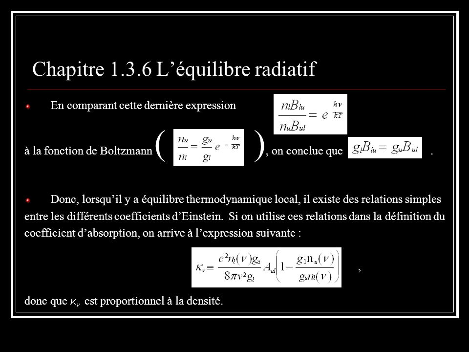 Chapitre 1.3.6 L'équilibre radiatif