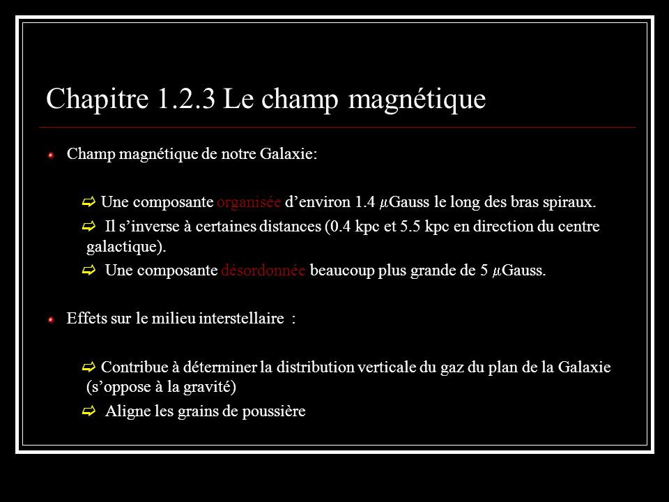 Chapitre 1.2.3 Le champ magnétique