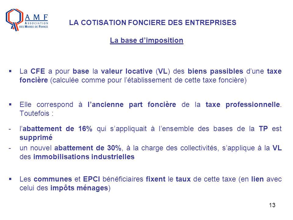 LA COTISATION FONCIERE DES ENTREPRISES La base d'imposition