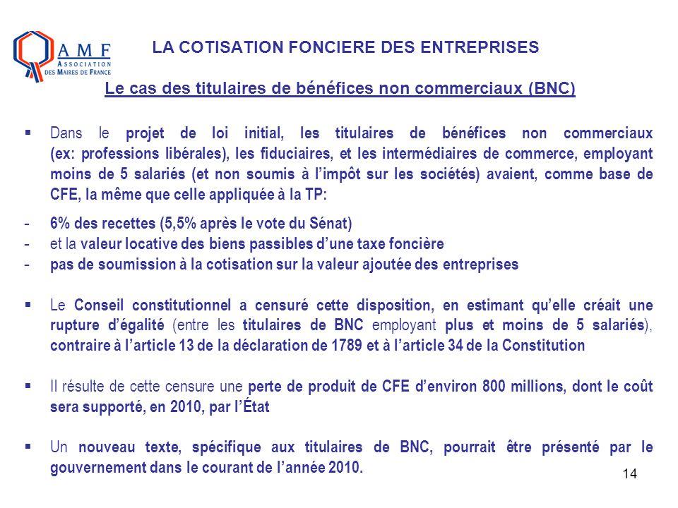 LA COTISATION FONCIERE DES ENTREPRISES Le cas des titulaires de bénéfices non commerciaux (BNC)