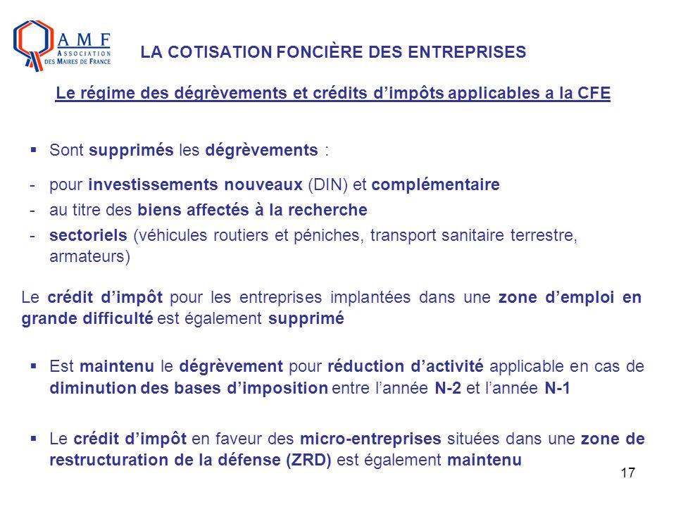 LA COTISATION FONCIÈRE DES ENTREPRISES Le régime des dégrèvements et crédits d'impôts applicables a la CFE