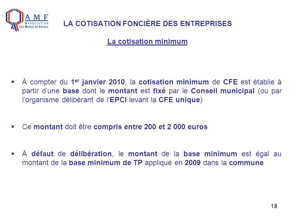 LA COTISATION FONCIÈRE DES ENTREPRISES La cotisation minimum