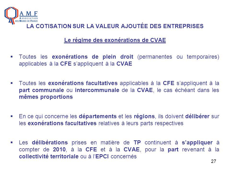 LA COTISATION SUR LA VALEUR AJOUTÉE DES ENTREPRISES Le régime des exonérations de CVAE
