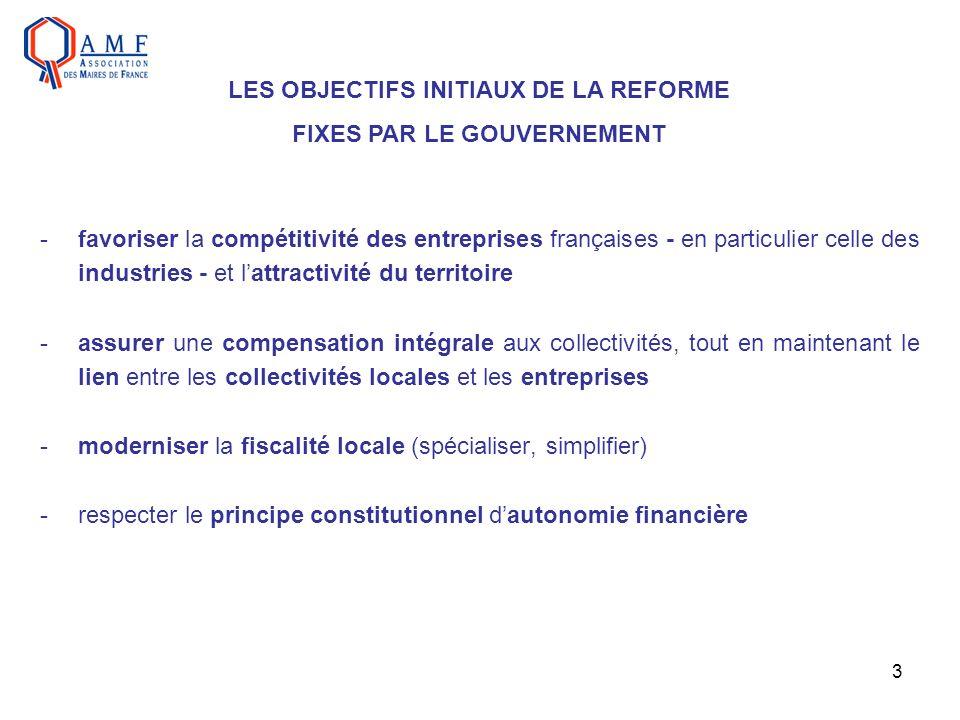 LES OBJECTIFS INITIAUX DE LA REFORME FIXES PAR LE GOUVERNEMENT