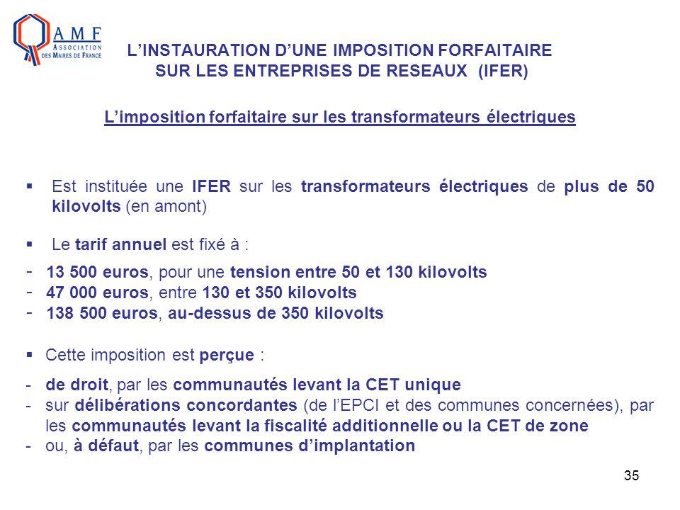 L'imposition forfaitaire sur les transformateurs électriques