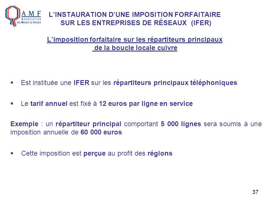 L'INSTAURATION D'UNE IMPOSITION FORFAITAIRE SUR LES ENTREPRISES DE RÉSEAUX (IFER) L'imposition forfaitaire sur les répartiteurs principaux de la boucle locale cuivre