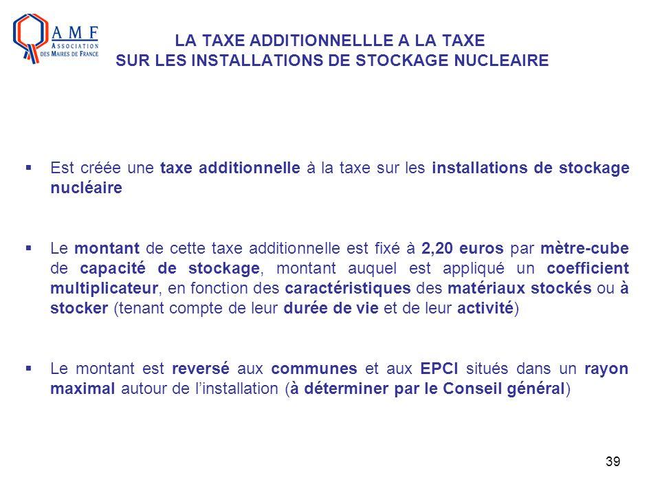 LA TAXE ADDITIONNELLLE A LA TAXE SUR LES INSTALLATIONS DE STOCKAGE NUCLEAIRE
