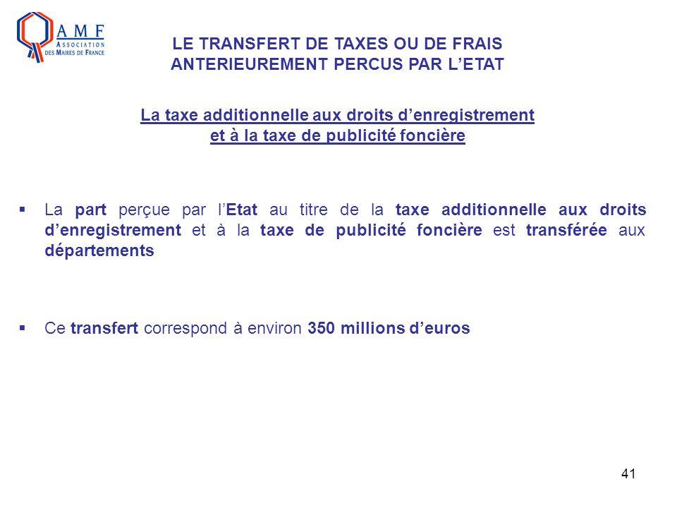 LE TRANSFERT DE TAXES OU DE FRAIS ANTERIEUREMENT PERCUS PAR L'ETAT
