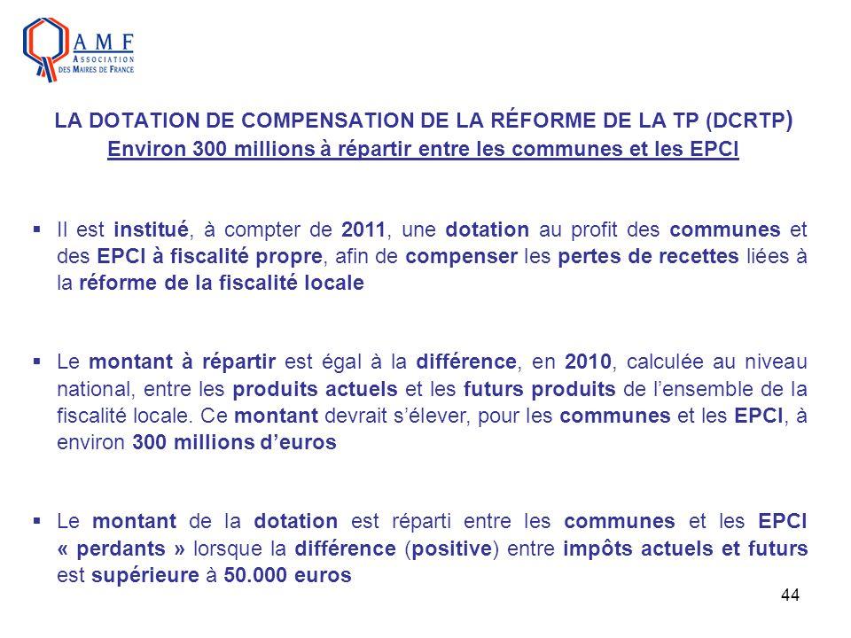 LA DOTATION DE COMPENSATION DE LA RÉFORME DE LA TP (DCRTP) Environ 300 millions à répartir entre les communes et les EPCI