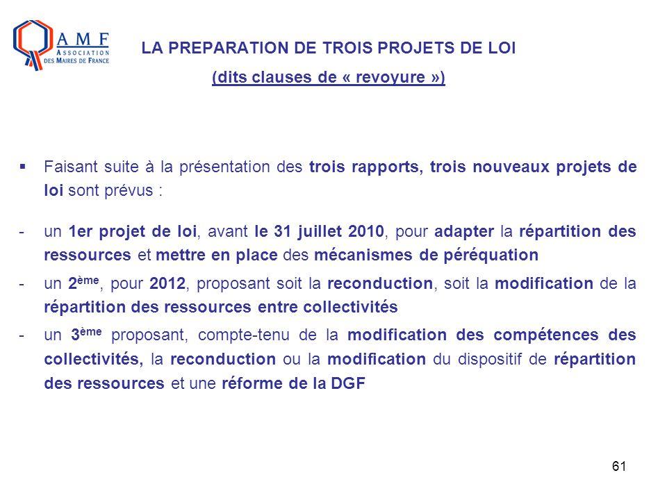 LA PREPARATION DE TROIS PROJETS DE LOI (dits clauses de « revoyure »)