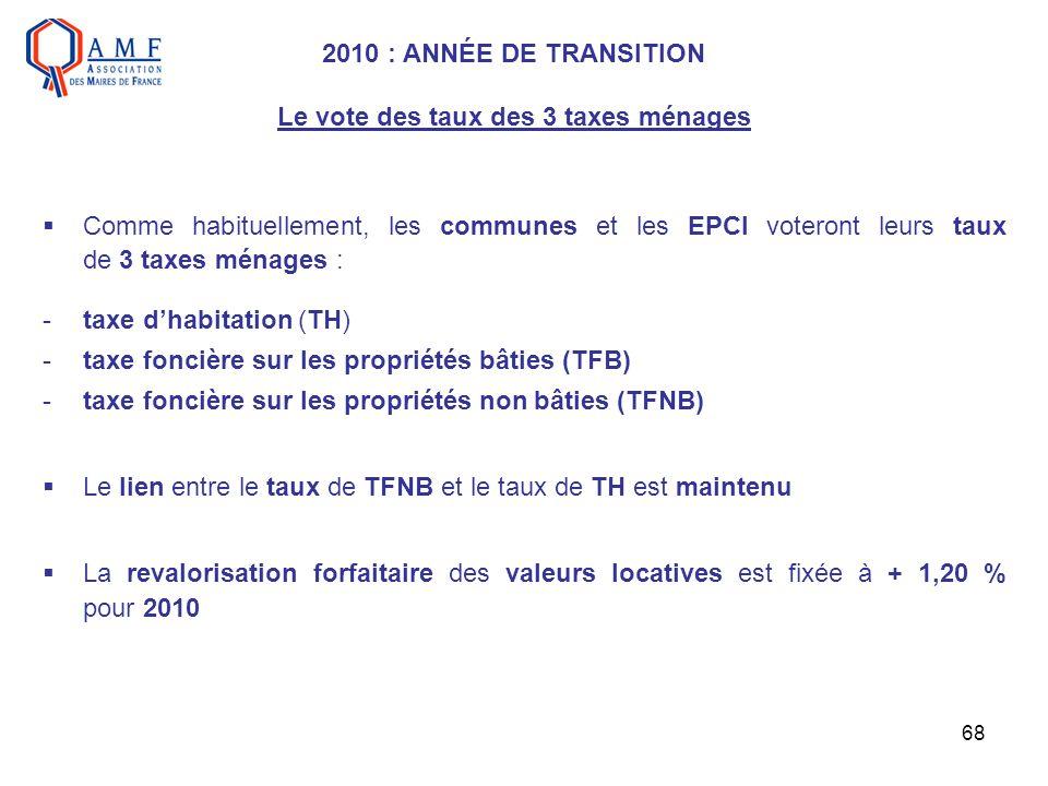 2010 : ANNÉE DE TRANSITION Le vote des taux des 3 taxes ménages