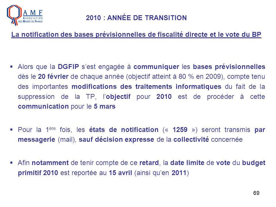 2010 : ANNÉE DE TRANSITION La notification des bases prévisionnelles de fiscalité directe et le vote du BP